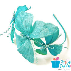 Mint and turquoise butterfly headband