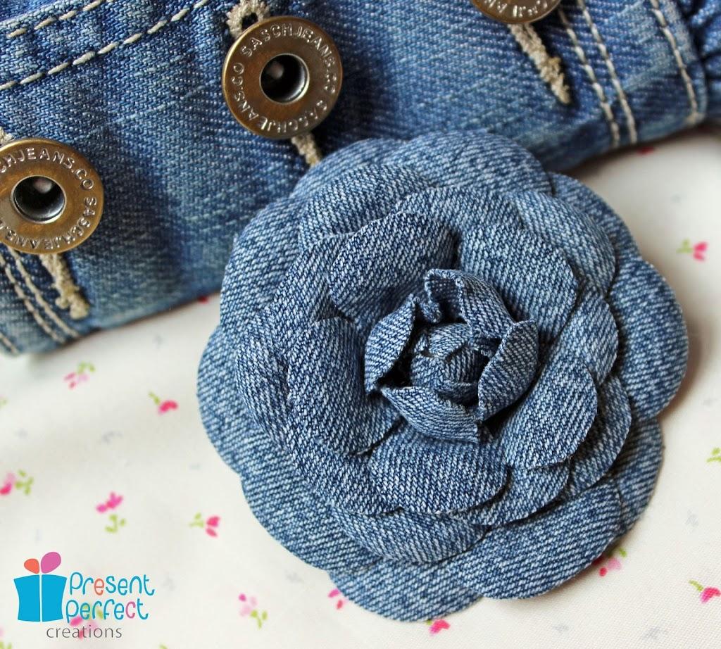 Цветок из джинсов сшить