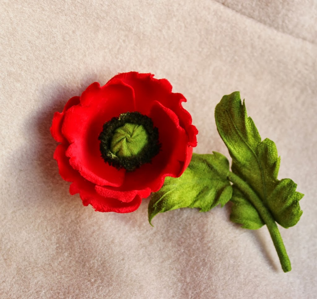 Red poppy uk archives presentperfect creations original flower velvet poppy brooch mightylinksfo
