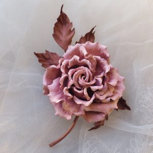 blush pink leather rose corsage