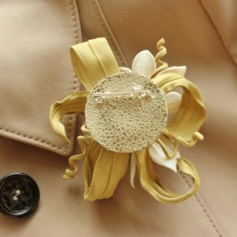 leather flower corsage back