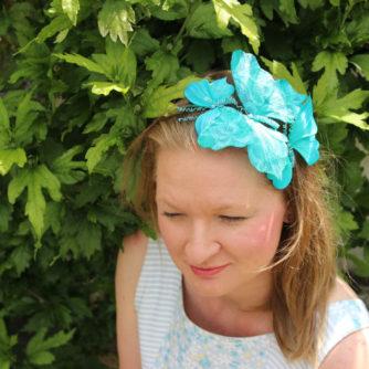 Turquoise butterfly headband