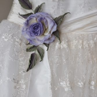 silk rose wedding dress sach corsage
