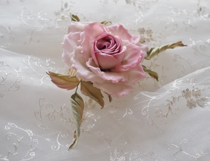 Pink Flower Comb Blush Flower Hair Comb Succulent Comb Summer Wedding Headpiece