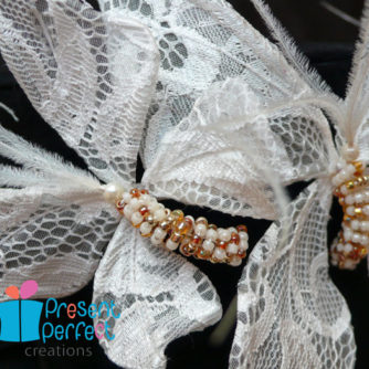 lace butterfly headband detail
