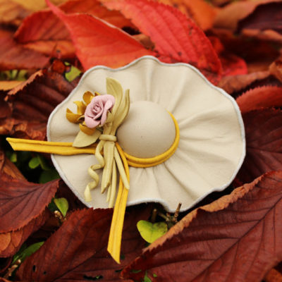 Leather flowers miniature leather hat brooch