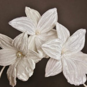 Velvet orchid bridal headpiece