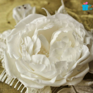 Bridal flowers silk and lace rose hair comb