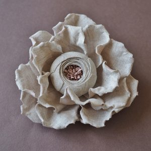 linen rose brooch