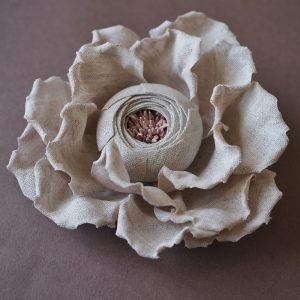 linen rose brooch