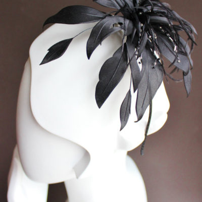 Black silk flower fascinator, fantasy flower