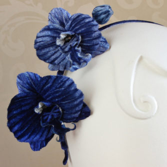 blue orchid headpiece closeup
