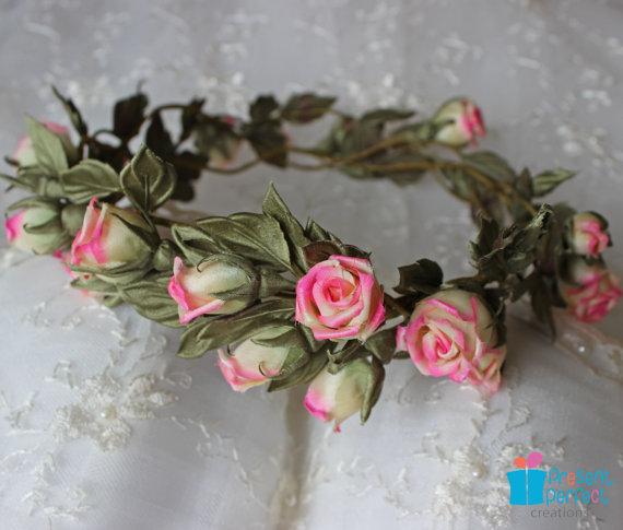 Bridal hair wreath of flowers
