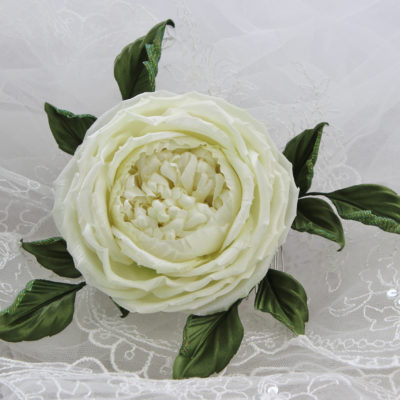 ivory silk rose bridal comb