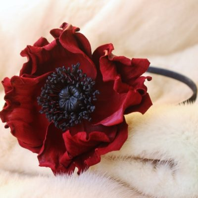 leather poppy headband