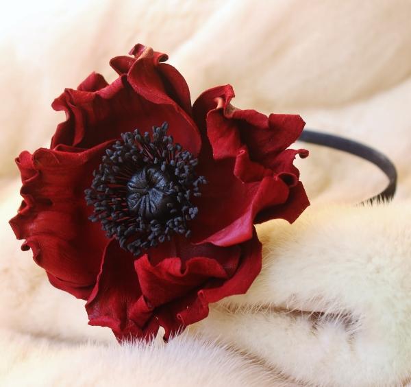 Leather flowers dark red poppy headband presentperfect creations leather poppy headband mightylinksfo