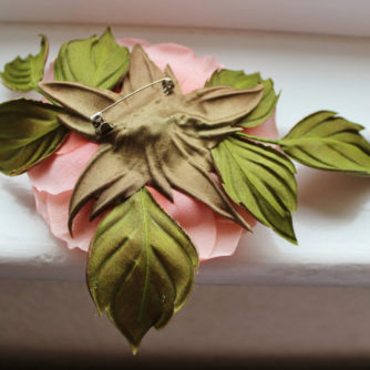 silk English rose corsage