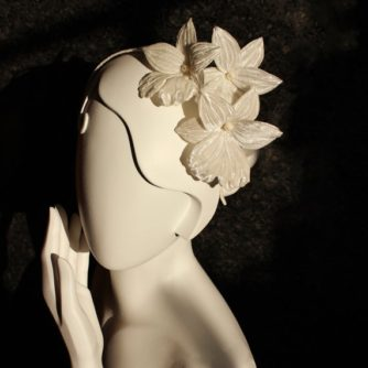 orchid bridal headpiece