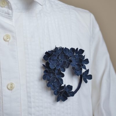 denim hydrangea flower brooch