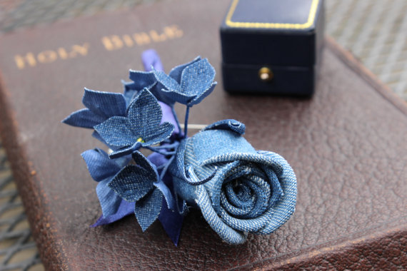 Denim wedding buttonhole