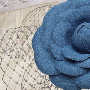 Denim hairpiece oversized camellia flower