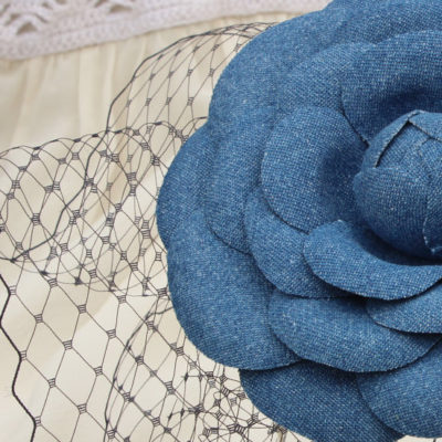 Denim hairpiece oversized camellia flower