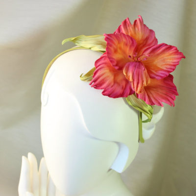 Fabric flowers oversized velvet gladiolus flower hairpiece