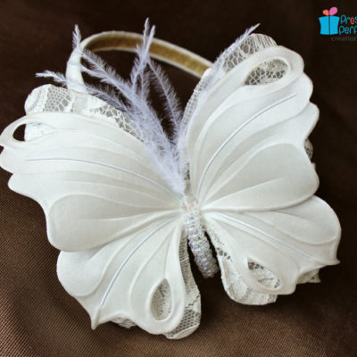 white butterfly headband
