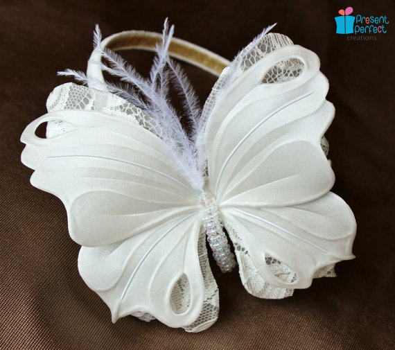 How To Make A Flower Girl Basket With Fabric : White butterfly headband for a girl presentperfect