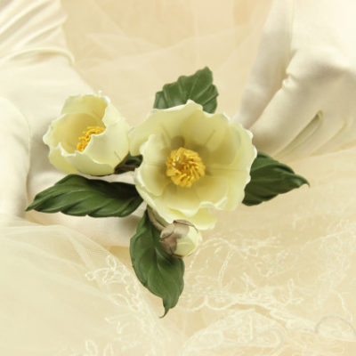 Wedding flowers fabric white camellia corsage