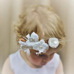 Flower girl hair circlet with orchids