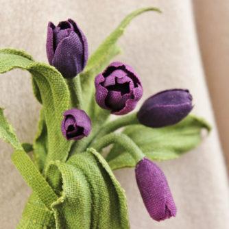 linen tulip brooch 3
