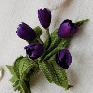 linen tulip brooch