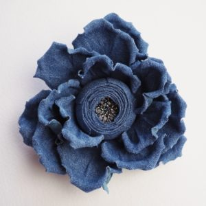 Denim flower brooch