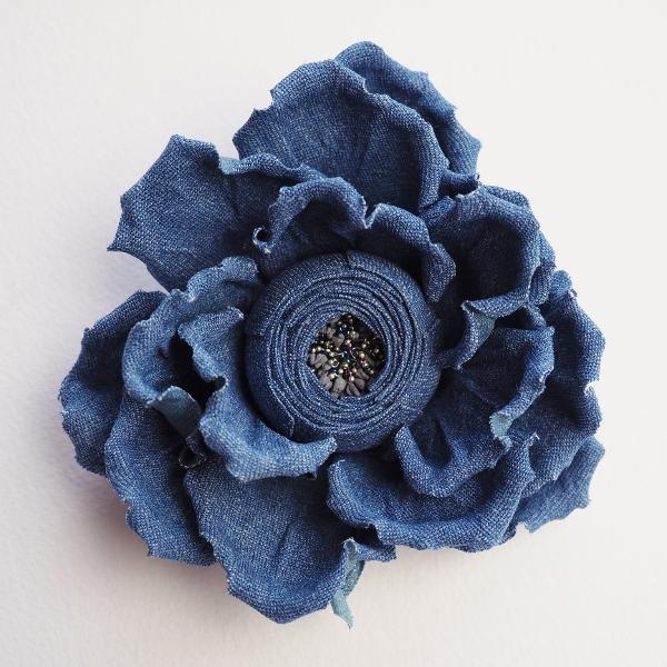 Denim flower brooch denim wedding presentperfect creations denim flower brooch mightylinksfo
