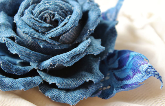 Denim Flower Brooch Denim Wedding Presentperfect