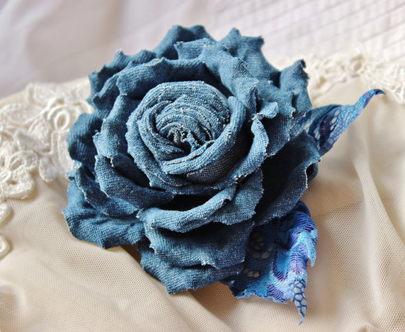 Denim flower brooch, denim wedding