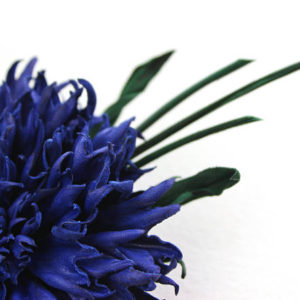 leather cornflower brooch