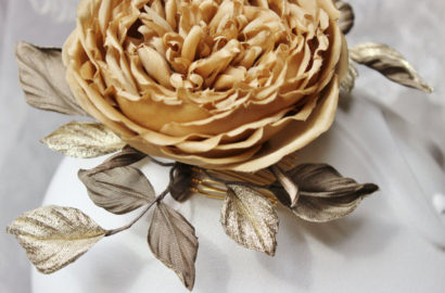 Backing of handmade flower petals and leaves