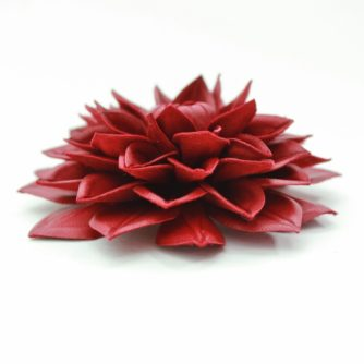 cherry red leather dahlia corsage (500x500)