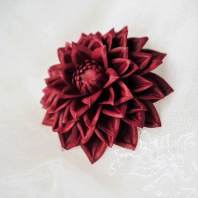 cherry red leather dahlia