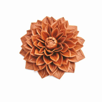 leather dahlia flower brooch