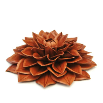 cognac leather dahlia flower side small