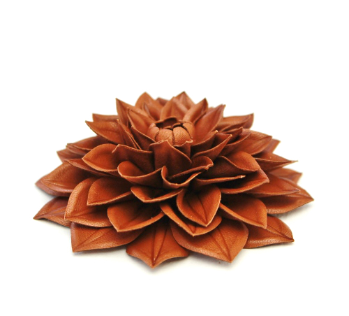 86989bfca86 Cognac brown leather dahlia flower brooch (large)