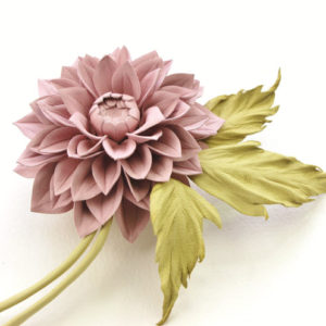 Dusty pink leather dahlia flower corsage