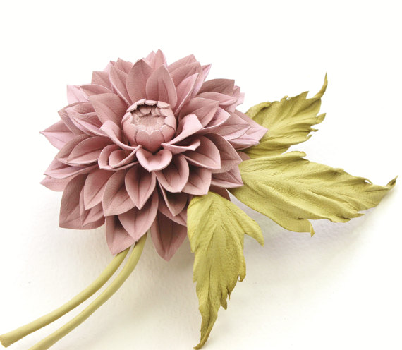 Dusty pink leather dahlia flower corsage presentperfect creations dusty mightylinksfo