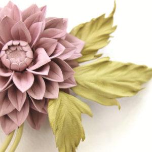 leather dahlia flower corsage