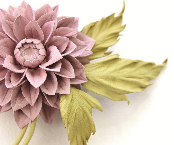 Dusty pink leather dahlia flower corsage presentperfect creations dusty pink dahlia corsage detail mightylinksfo
