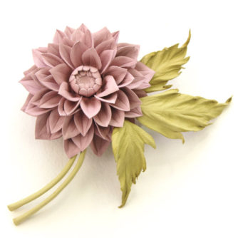 dusty pink dahlia corsage front