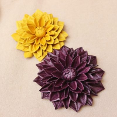 leather dahlia flower corsage